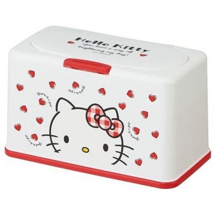〔小禮堂〕Hello Kitty 方形塑膠按壓彈蓋面紙盒《紅白.大臉》抽取式紙巾盒.口罩盒