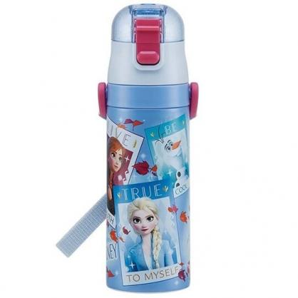 〔小禮堂〕迪士尼 冰雪奇緣2 超輕量彈蓋不鏽鋼保溫瓶附背帶《藍紫.相片框》470ml.水壺.水瓶
