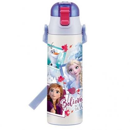 〔小禮堂〕迪士尼 冰雪奇緣2 超輕量彈蓋不鏽鋼保溫瓶附背帶《藍白.相片框》580ml.水壺.水瓶