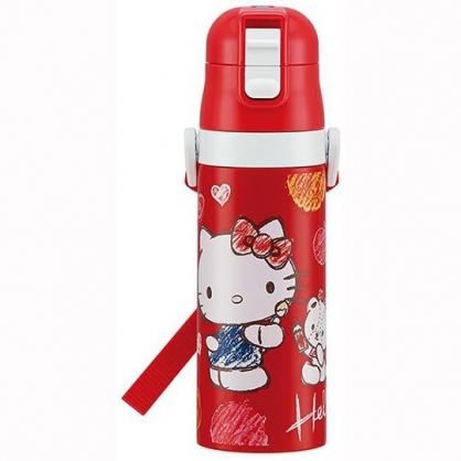 〔小禮堂〕Hello Kitty 超輕量彈蓋不鏽鋼保溫瓶附背帶《紅白.水彩筆》470ml.水壺.水瓶