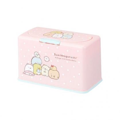 〔小禮堂〕角落生物 方形塑膠按壓彈蓋面紙盒《粉綠.點點》抽取式紙巾盒.口罩盒