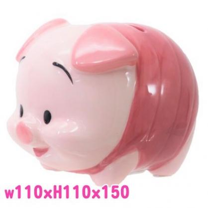 〔小禮堂〕迪士尼 小熊維尼 小豬 全身造型陶瓷存錢筒《粉》擺飾.撲滿.儲金筒