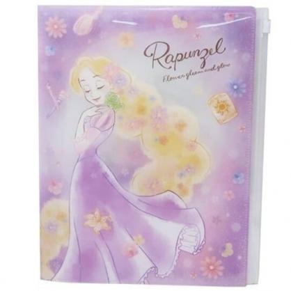 〔小禮堂〕迪士尼 長髮公主 雙開式文件夾《A4.紫.側身閉眼》資料夾.檔案夾.L夾