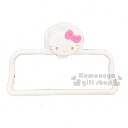 〔小禮堂〕Hello Kitty 塑膠夾式毛巾掛架《米.大臉》毛巾桿.銅板小物