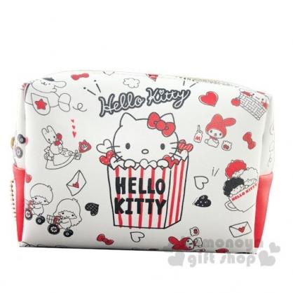 〔小禮堂〕Sanrio大集合 方形皮質拉鍊化妝包《米紅.爆米花》收納包.萬用包