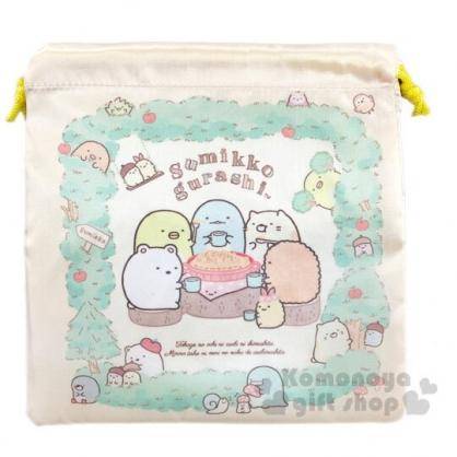 〔小禮堂〕角落生物 緞面束口袋《黃綠.蘋果樹》縮口袋.收納袋