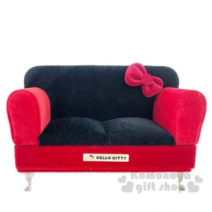 〔小禮堂〕Hello Kitty 絨毛沙發造型掀蓋珠寶盒鏡盒《黑紅.蝴蝶結》飾品盒.首飾盒.置物盒