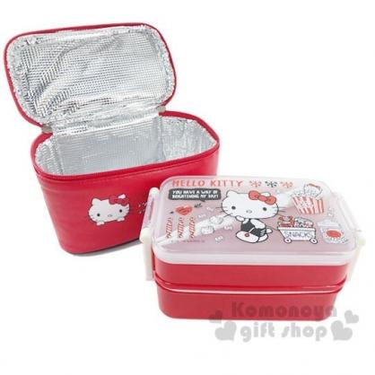 〔小禮堂〕Hello Kitty 方形雙扣雙層便當盒附保冷袋《紅》450ml.保鮮盒.餐盒