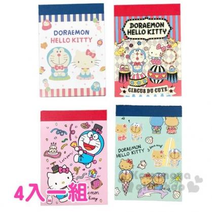 〔小禮堂〕Hello Kitty x 哆啦A夢 日製迷你便條本組《4入.藍紅.馬戲團》便條紙.留言紙