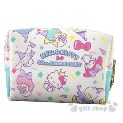 〔小禮堂〕Sanrio大集合 方形皮質拉鍊化妝包《白.45週年》收納包.萬用包