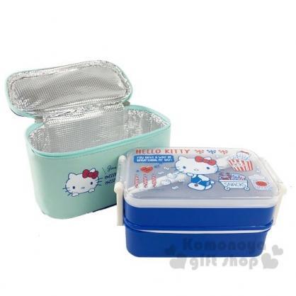 〔小禮堂〕Hello Kitty 方形雙扣雙層便當盒附保冷袋《藍》450ml.保鮮盒.餐盒