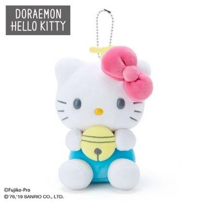 〔小禮堂〕Hello Kitty x 哆啦A夢 絨毛玩偶娃娃吊飾《粉白》掛飾.鑰匙圈