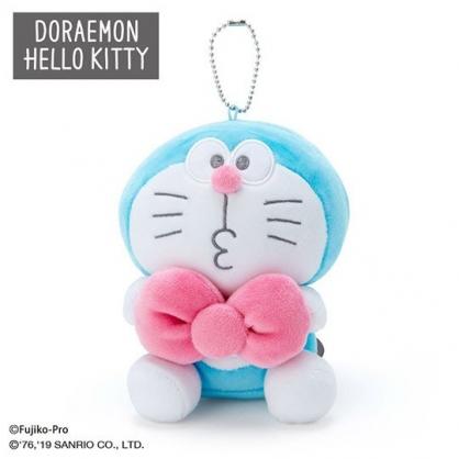 〔小禮堂〕哆啦A夢 x Hello Kitty 絨毛玩偶娃娃吊飾《藍白》掛飾.鑰匙圈