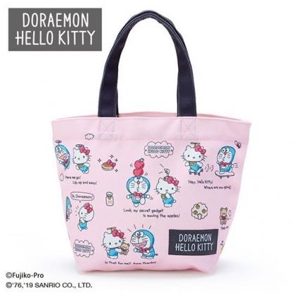 〔小禮堂〕Hello Kitty x 哆啦A夢 帆布手提袋《粉藍》外出袋.便當袋