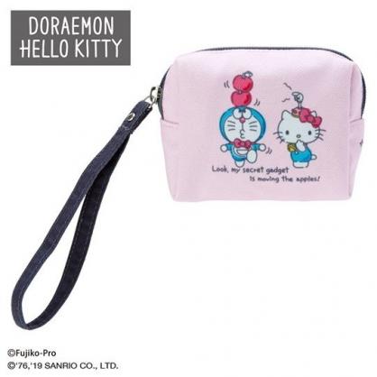 〔小禮堂〕Hello Kitty x 哆啦A夢 迷你方形帆布化妝包《粉藍》收納包.零錢包
