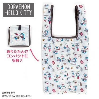 〔小禮堂〕Hello Kitty x 哆啦A夢 折疊尼龍環保購物袋《米藍粉》手提袋.環保袋
