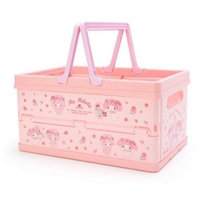 〔小禮堂〕美樂蒂 方形塑膠折疊收納提籃《粉紫.花朵》置物籃.收納籃.玩具籃