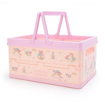 〔小禮堂〕雙子星 方形塑膠折疊收納提籃《粉紫.獨角獸》置物籃.收納籃.玩具籃