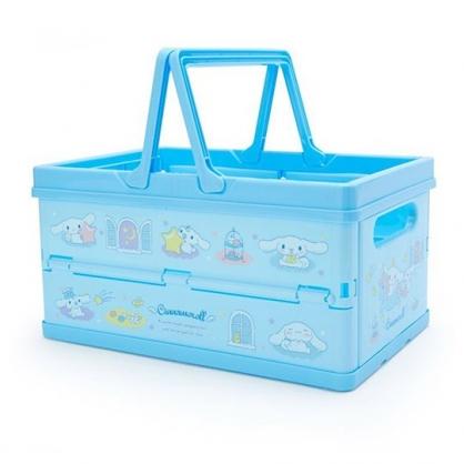 〔小禮堂〕大耳狗 方形塑膠折疊收納提籃《藍白.獨角獸》置物籃.收納籃.玩具籃