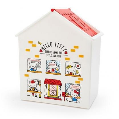 〔小禮堂〕Hello Kitty 房屋造型塑膠平衡蓋收納箱《紅白》垃圾筒.置物箱
