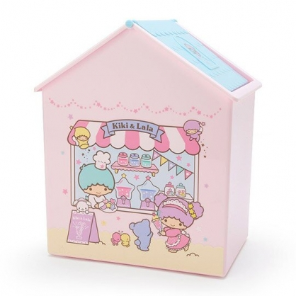 〔小禮堂〕雙子星 房屋造型塑膠平衡蓋收納箱《粉藍》垃圾筒.置物箱