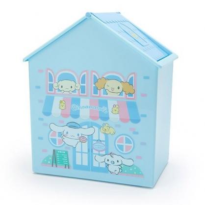 〔小禮堂〕大耳狗 房屋造型塑膠平衡蓋收納箱《藍白》垃圾筒.置物箱