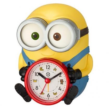 〔小禮堂〕小小兵 BOB 全身造型塑膠鬧鐘《黃藍.坐姿》桌鐘.時鐘