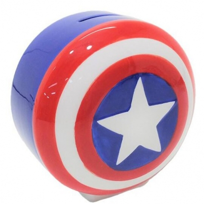 〔小禮堂〕漫威英雄Marvel 美國隊長 盾牌造型陶瓷存錢筒《藍紅》擺飾.撲滿.儲金筒