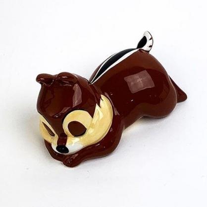 〔小禮堂〕迪士尼 奇奇 迷你趴姿造型陶瓷存錢筒《深棕》擺飾.撲滿.儲金筒