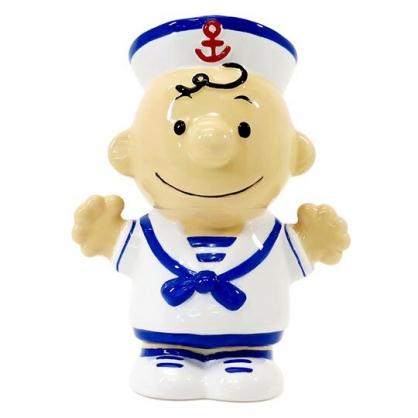 〔小禮堂〕史努比 查理布朗 全身造型陶瓷存錢筒《藍白.水手服》擺飾.撲滿.儲金筒
