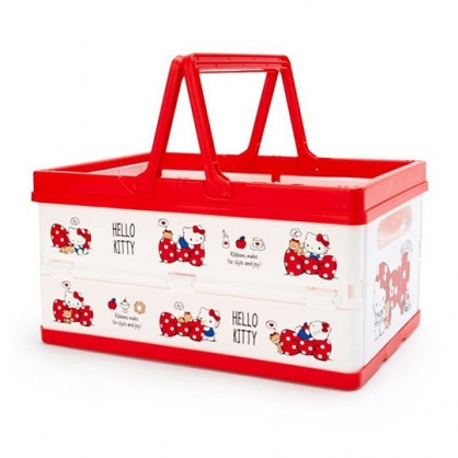 〔小禮堂〕Hello Kitty 方形塑膠折疊收納提籃《紅白.蝴蝶結》置物籃.收納籃.玩具籃