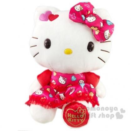〔小禮堂〕Hello Kitty 情人節絨毛玩偶娃娃《M.紅洋裝》擺飾.玩具