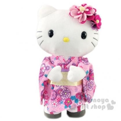 〔小禮堂〕Hello Kitty 和服絨毛玩偶娃娃《M.粉紫和服》擺飾.玩具