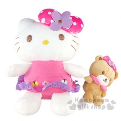 〔小禮堂〕Hello Kitty 絨毛玩偶娃娃《M.花朵蝴蝶結》擺飾.玩具