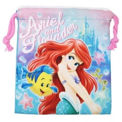〔小禮堂〕迪士尼 小美人魚 棉質束口袋《粉綠.城堡》18x20cm.縮口袋.收納袋