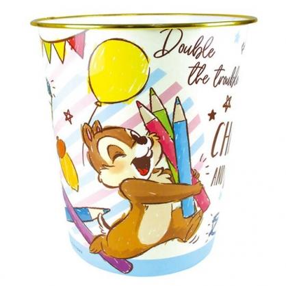 〔小禮堂〕迪士尼 奇奇蒂蒂 圓形無蓋垃圾桶《米藍.色鉛筆》書報桶.收納桶.置物桶