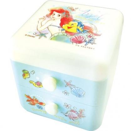 〔小禮堂〕迪士尼 小美人魚 桌上型塑膠雙抽收納盒《綠.轉身》置物盒.抽屜盒.飾品盒