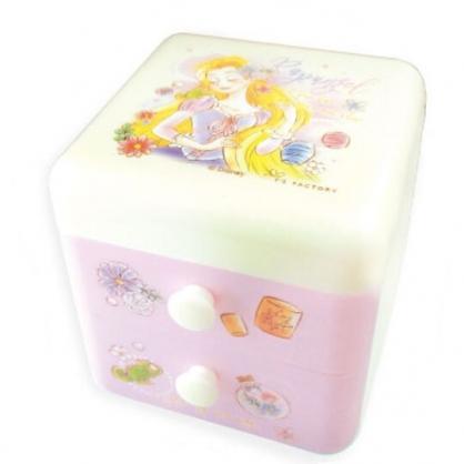 〔小禮堂〕迪士尼 長髮公主 桌上型塑膠雙抽收納盒《紫.閉眼》置物盒.抽屜盒.飾品盒