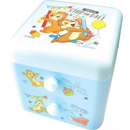〔小禮堂〕迪士尼 奇奇蒂蒂 桌上型塑膠雙抽收納盒《藍.色鉛筆》置物盒.抽屜盒.飾品盒