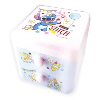 〔小禮堂〕迪士尼 史迪奇 桌上型塑膠雙抽收納盒《紫.拿蠟筆》置物盒.抽屜盒.飾品盒