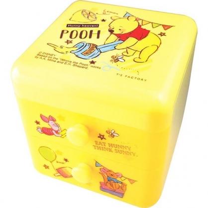 〔小禮堂〕迪士尼 小熊維尼 桌上型塑膠雙抽收納盒《黃.拿蠟筆》置物盒.抽屜盒.飾品盒