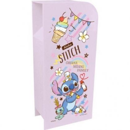〔小禮堂〕迪士尼 史迪奇 桌上型四層直式收納盒《紫.拿蠟筆》置物盒.筆筒.刷具筒