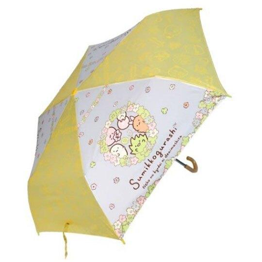 〔小禮堂〕角落生物 彎把防風傘骨折疊傘《黃白.戴花圈》折傘.雨具.雨傘