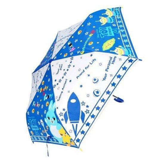 〔小禮堂〕迪士尼 玩具總動員4 彎把防風傘骨折疊傘《藍白.Q版》折傘.雨具.雨傘