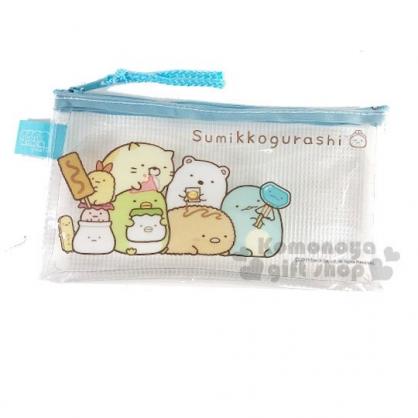 〔小禮堂〕角落生物 防水網狀扁平拉鍊筆袋《藍.吃零食》收納包.化妝包.鉛筆盒