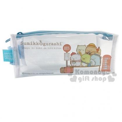 〔小禮堂〕角落生物 方形防水網狀拉鍊筆袋《藍.行李箱》收納包.化妝包.鉛筆盒