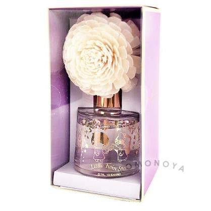 〔小禮堂〕雙子星 花朵造型香薰精油擴香瓶《紫》100ml.玫瑰香.室內香氛.薰香