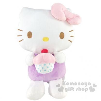 〔小禮堂〕Hello Kitty 絨毛玩偶娃娃《L.白紫.杯子蛋糕》擺飾.玩具
