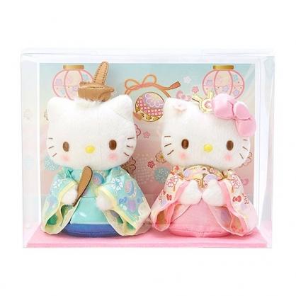 〔小禮堂〕Hello Kitty 女兒節絨毛玩偶娃娃組《2入.粉藍》雛祭娃娃.玩具