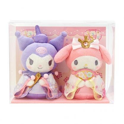 〔小禮堂〕美樂蒂 酷洛米 女兒節絨毛玩偶娃娃組《2入.粉紫》雛祭娃娃.玩具